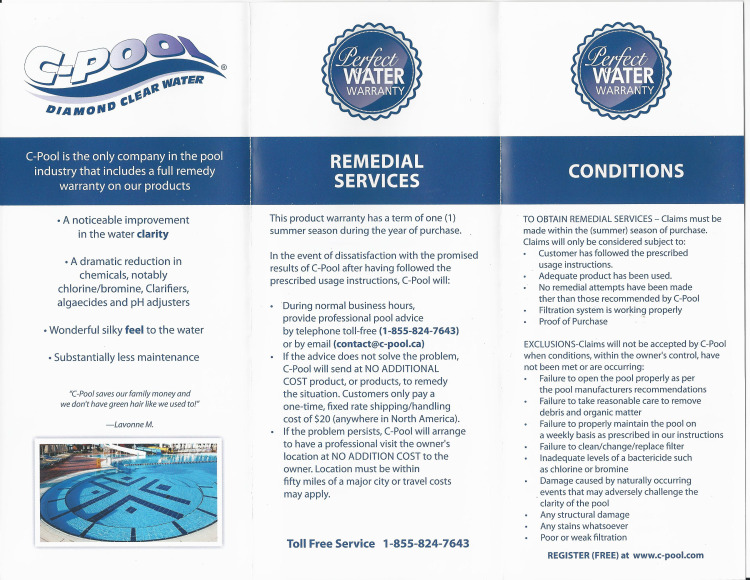 C-Pool Perfect Water Warranty Brochure-1